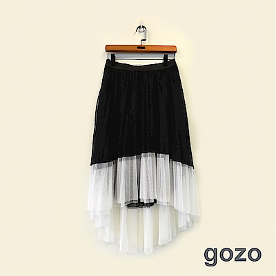 gozo 個性色接百摺前短後長網紗膝下裙(黑色)