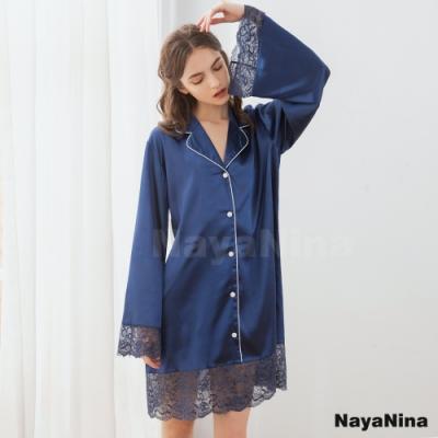 Naya Nina 質感藍蕾絲拼接翻領長袖襯衫式長版居家服