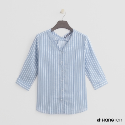 Hang Ten -女裝 - 小開領氣質直條紋襯衫 - 藍