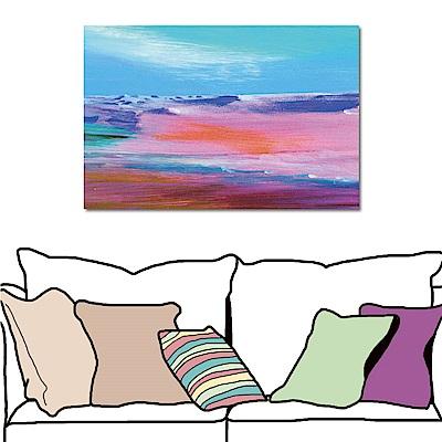 24mama掛畫 單聯 抽象手繪風無框畫-粉紅世界60x40cm