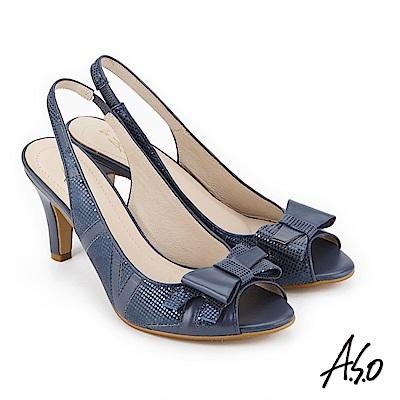 A.S.O 炫麗魅惑 優雅水鑽點綴魚口高跟鞋 藍色