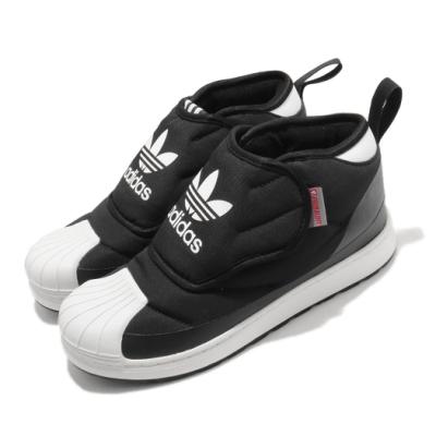 adidas 休閒鞋 Superstar 360 Boot 童鞋 愛迪達 三葉草 魔鬼氈 運動鞋 中童 黑 白 FV7264