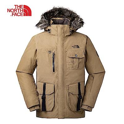 The North Face北面男款卡其色防水保暖羽絨外套|3L71T5C