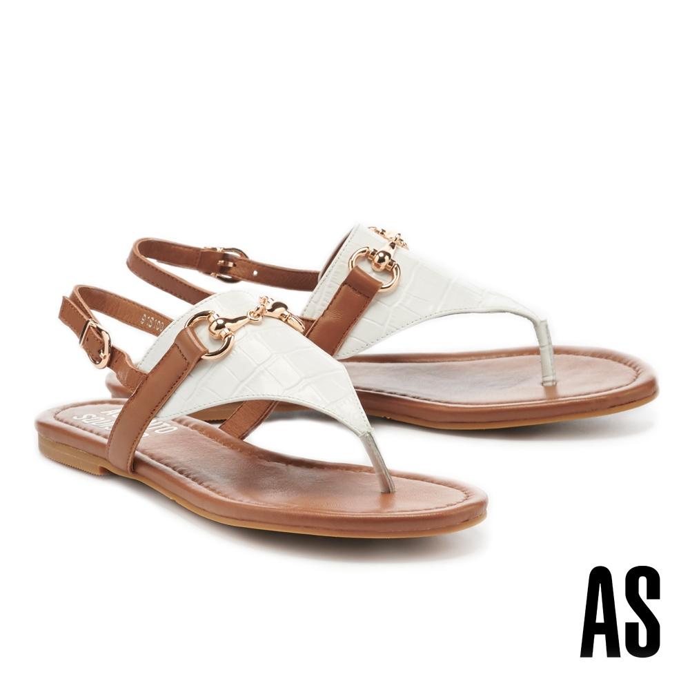 拖鞋 AS 異材質拼接金屬馬銜釦全真皮人字平底涼鞋-棕