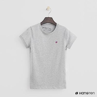 Hang Ten - 女裝 - 有機棉-logo圓領純色T恤 - 灰