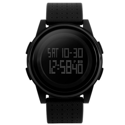 Mirabelle雙框炫色 LED鬧鐘防水矽膠手錶 全黑45mm