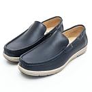 GEORGE 喬治皮鞋 輕量系列-經典素面舒適直套式休閒鞋-藍色