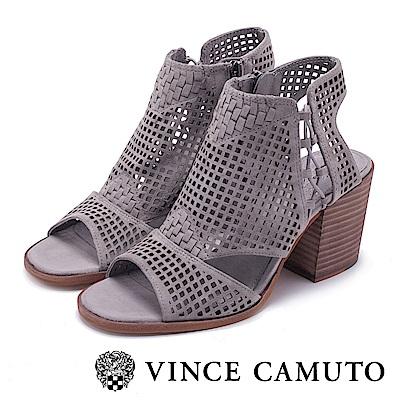VINCE CAMUTO 麂皮編織簍空粗高跟鞋-絨灰