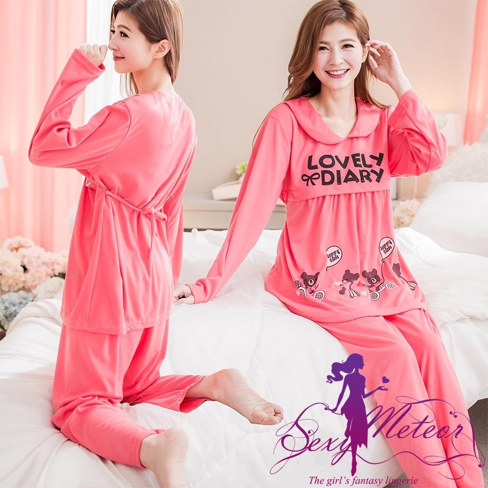 睡衣 全尺碼 熊英字綁結哺乳孕婦居家長袖二件式睡衣組(珊瑚紅) Sexy Meteor
