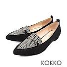 KOKKO -漫遊劍橋金屬扣尖頭平底鞋- 氣質格紋