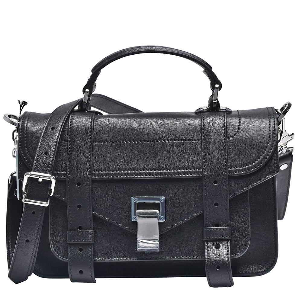 Proenza Schouler PS1 TINY LUX山羊皮手提斜背包(小-黑)