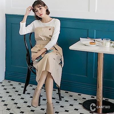 CANTWO假兩件式附腰帶風衣洋裝-共兩色