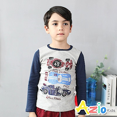 Azio Kids 上衣 塗鴉式賽車英文字母印花長袖棒球T恤(花灰)