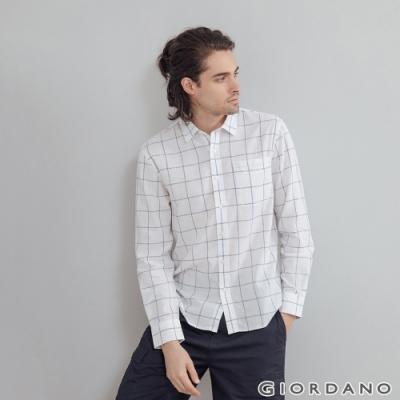 GIORDANO 男裝棉麻長袖襯衫 - 36 白X海軍藍