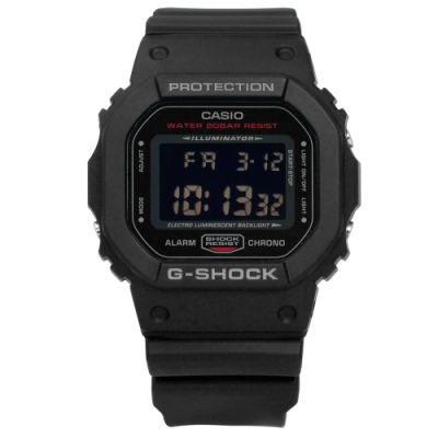 G-SHOCK CASIO卡西歐電子耐衝擊構造計時防水橡膠手錶-黑色/44mm