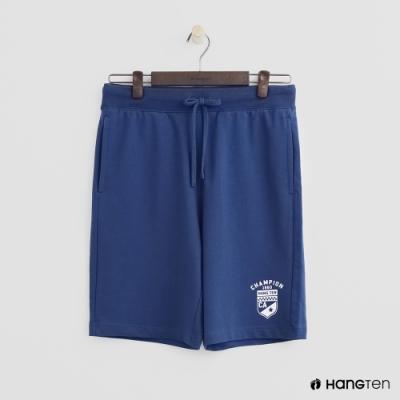 Hang Ten - 男裝 - 抽繩綁帶數字logo運動短褲 - 藍