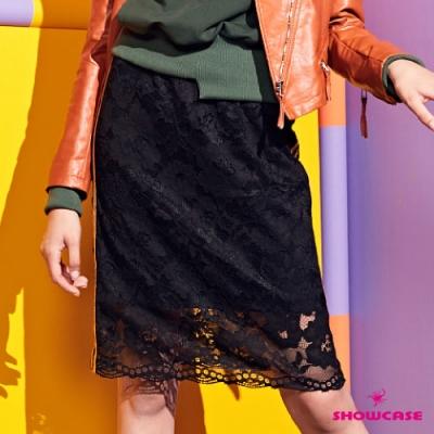 【SHOWCASE】運動女孩側織帶配色蕾絲網彈性及膝窄裙-黑