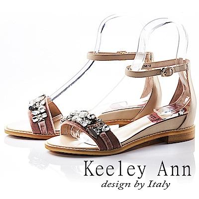 Keeley Ann 高雅出眾~亮澤水鑽腳踝釦帶真皮平底涼鞋(粉紅色-Ann)