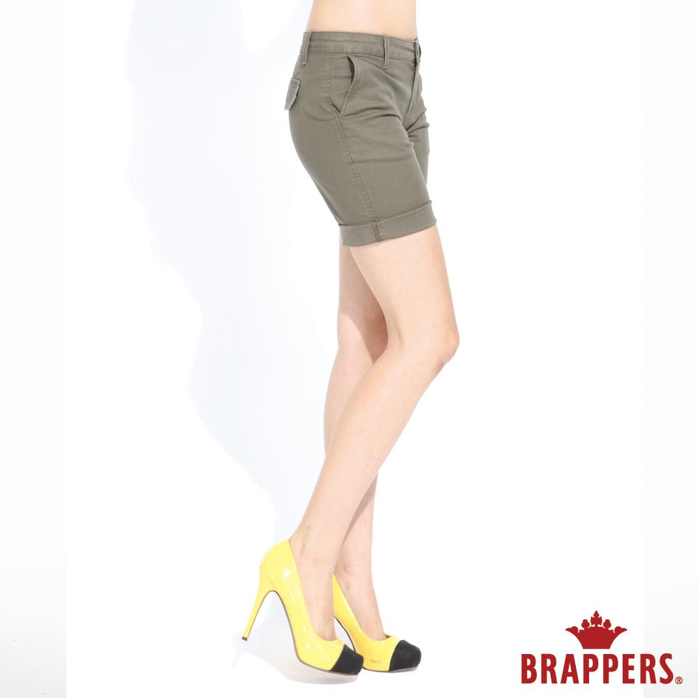 BRAPPERS 女款 休閒系列-彈性五分褲-綠