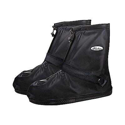 防水 雨鞋套 短筒 雨靴  耐磨 短筒 不掉腳跟 防滑 拉鍊防水層-黑色