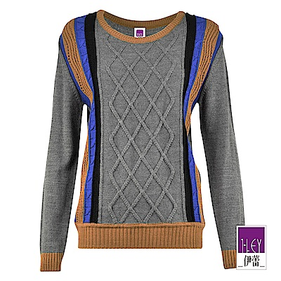 ILEY伊蕾 菱形織紋配條羊毛混紡針織上衣(可)