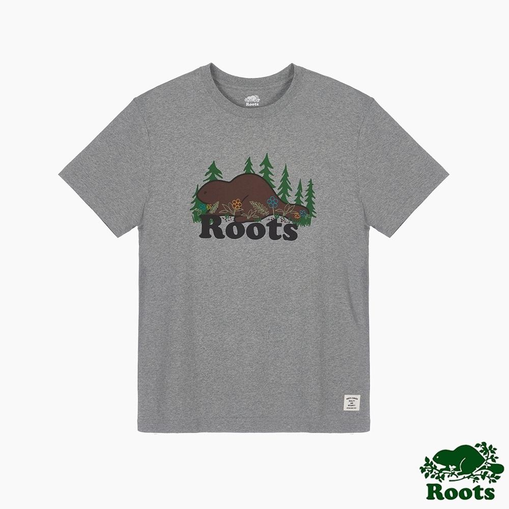 Roots男裝-環保有機棉系列 森林元素短袖T恤-灰色