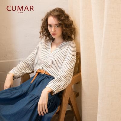 【CUMAR】條紋開衩衣領-襯衫(三色/版型適中)
