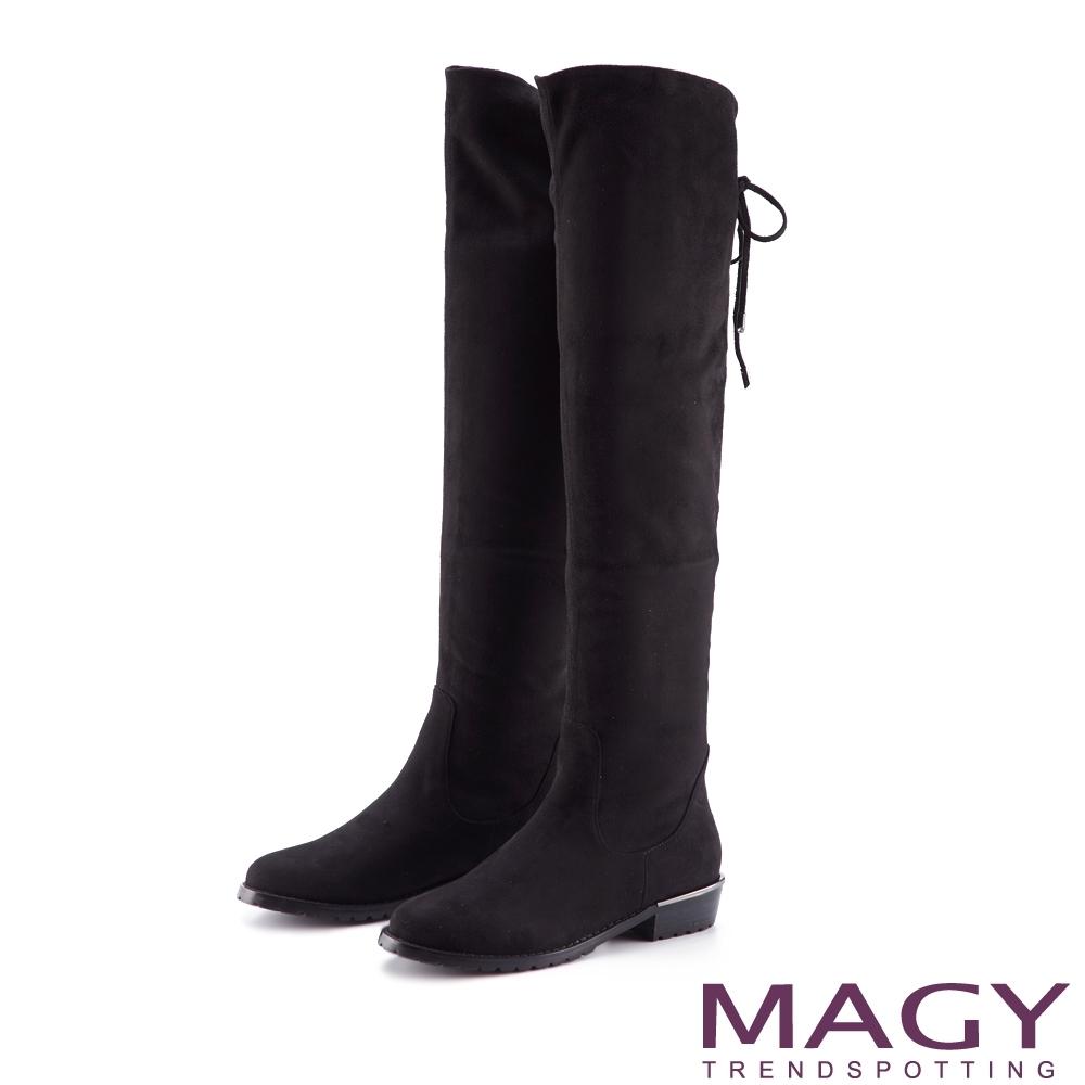 MAGY 金屬條飾2WAY綁帶 女 膝上靴 黑色