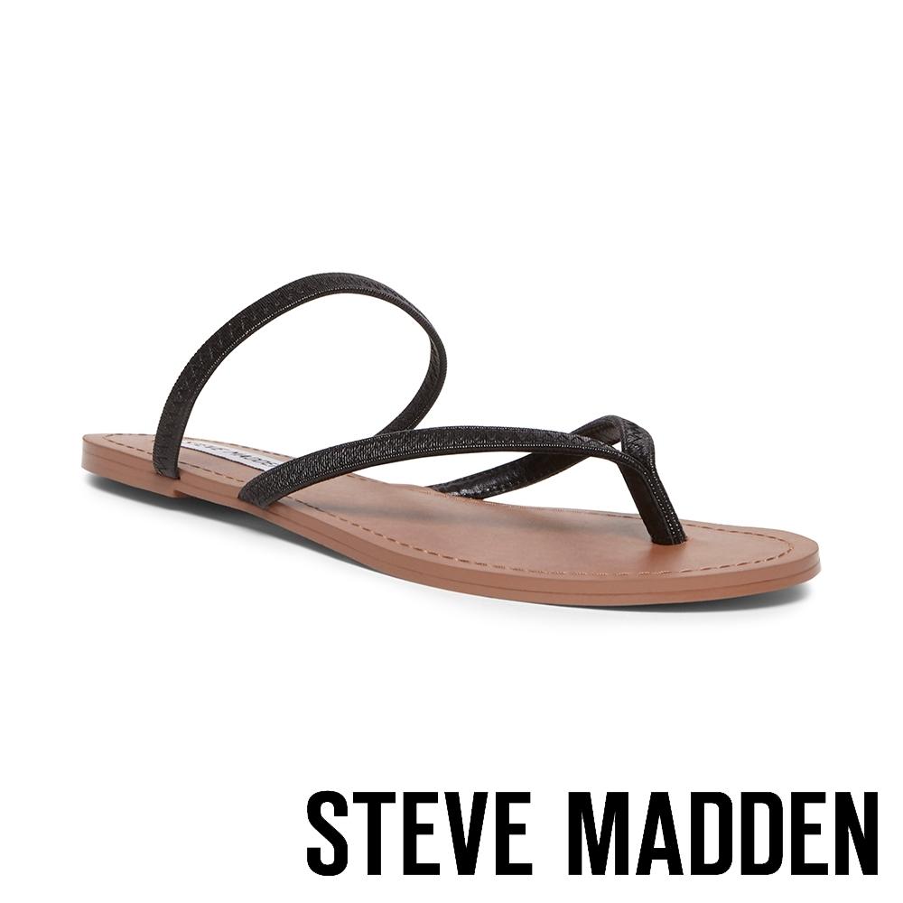 STEVE MADDEN-ENJOY 清涼一夏 精緻縫線鬆緊繞帶人字平底涼鞋-黑色