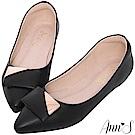 Ann'S平日禮儀-設計感方扣尖頭平底包鞋-黑