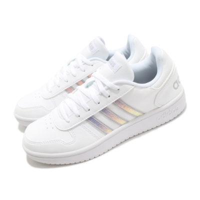 adidas 休閒鞋 Hoops 2 復古 女鞋 愛迪達 皮革鞋面 基本款 百搭 白 銀 FW3535