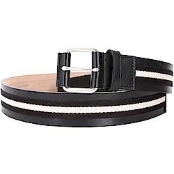 BALLY TIANIS 方框釦頭黑白條紋織帶牛皮腰帶(黑色)