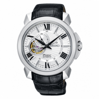 SEIKO 精工Premier 羅馬鏤空設計機械時尚皮帶腕錶(SSA373J1)