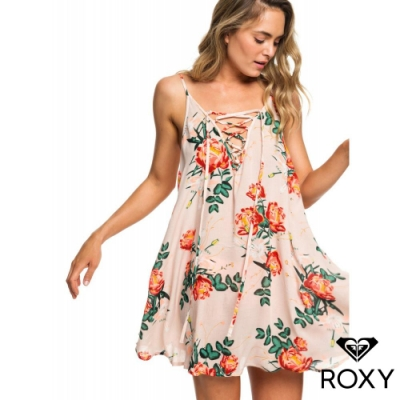 【ROXY】SOFTLY LOVE PRINTED DRESS 絲質洋裝 粉紅