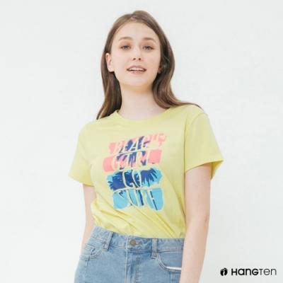 Hang Ten -女裝 - 有機棉-海灘女孩扭結T桖 - 黃