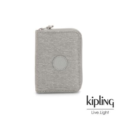 Kipling 清新柔和丹寧灰短夾-MONEY LOVE