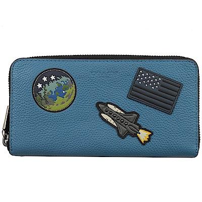 COACH 烙印LOGO NASA牛皮ㄇ字拉鍊長夾(藍)