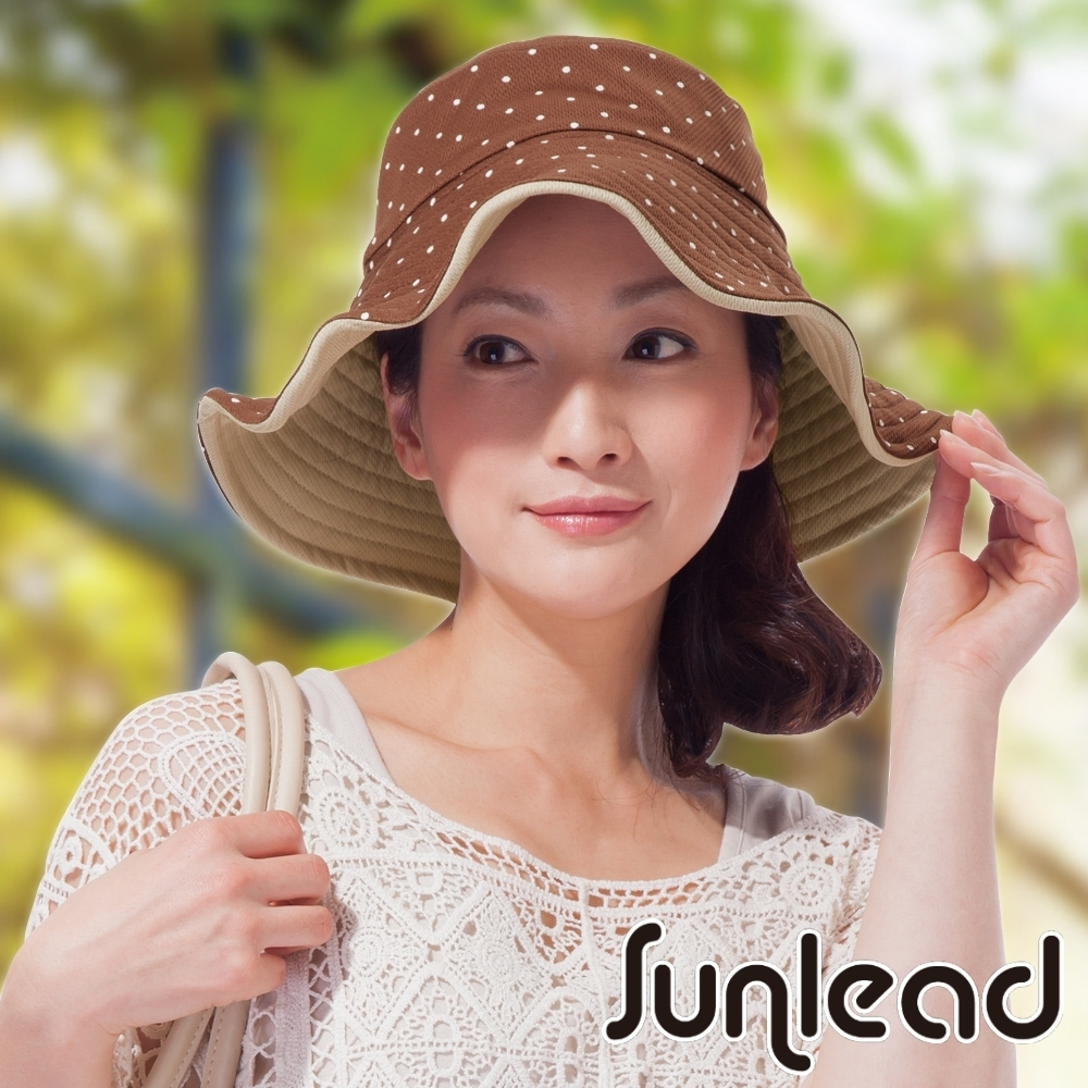 Sunlead 雙面雙色可戴。可塑型折邊防曬寬緣寬圓頂遮陽帽 (波卡圓點)
