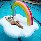 彩虹雲朵造型游泳圈 水上充氣浮床 充氣浮排