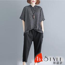 條紋上衣+七分褲兩件套 (條紋色)-4inSTYLE形設計