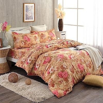 紅牡丹-柔絲絨雙人四件式兩用被床包組