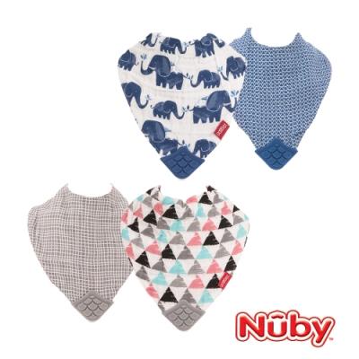 Nuby 紗布咬咬兜-藍大象/三角幾何(2入)