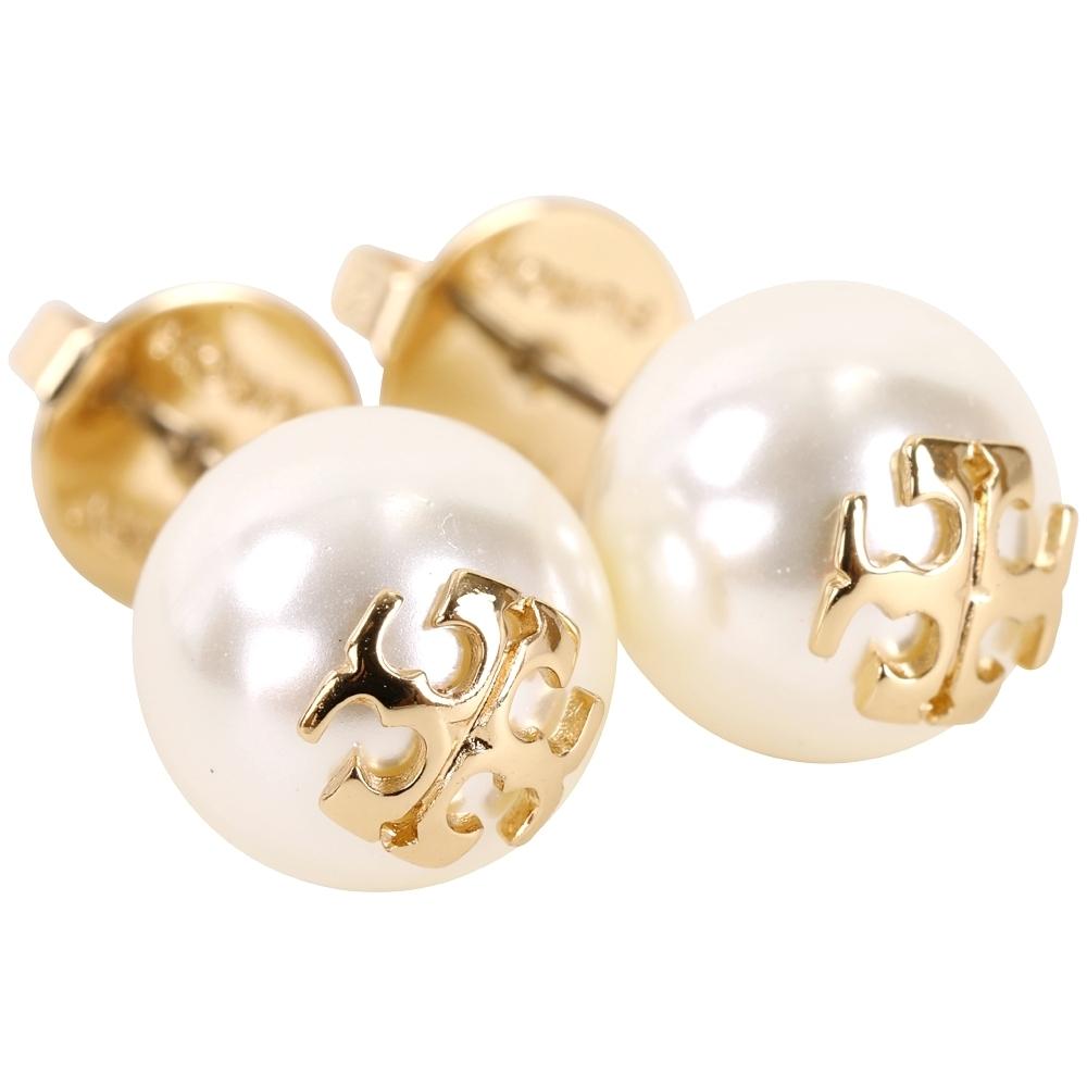TORY BURCH Crystal-Pearl 施華洛世奇水晶珍珠蝶型穿釦耳環(金色)