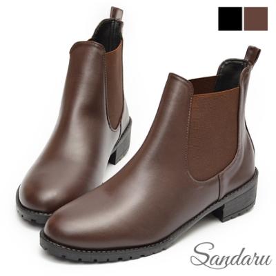 山打努SANDARU-短靴 超輕量切爾西微尖頭低跟靴-咖啡