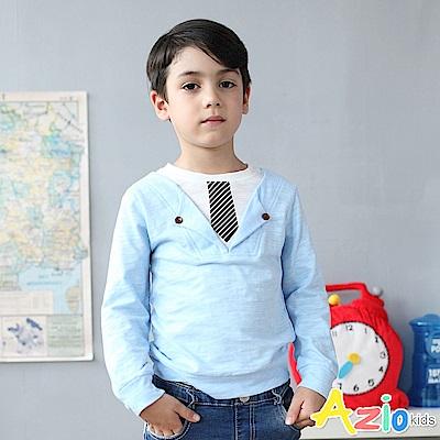 Azio Kids 上衣 假兩件領帶印花雙鈕釦竹節棉上衣(藍)