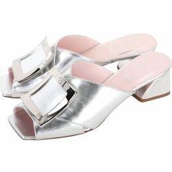 Roger Vivier Tres Vivier Mule 方框金屬粗跟涼鞋(銀色)