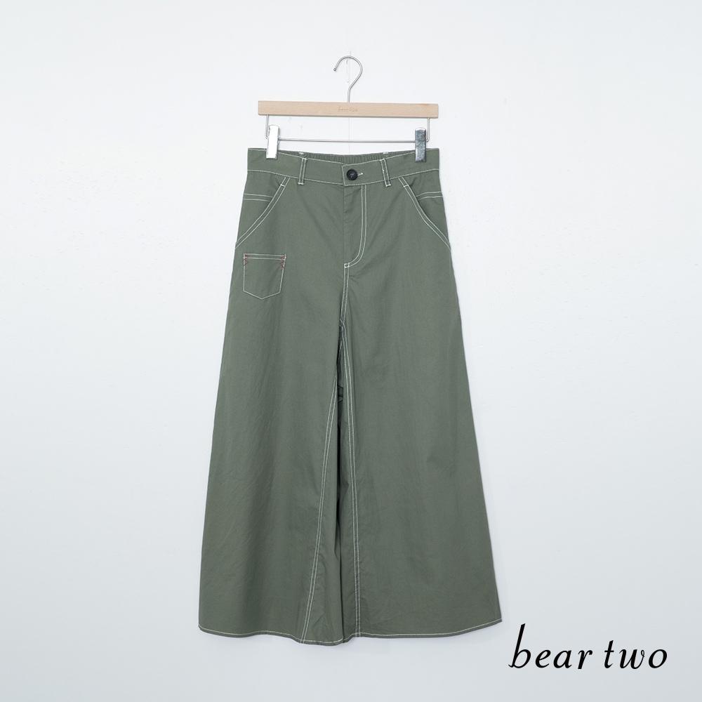 beartwo-休閒時尚寬褲-墨綠