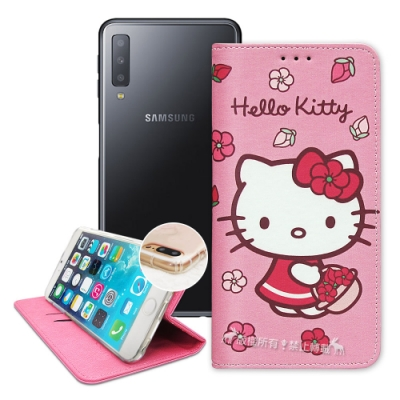 三麗鷗授權 Hello Kitty Samsung A7 2018 櫻花吊繩款彩繪側掀皮套
