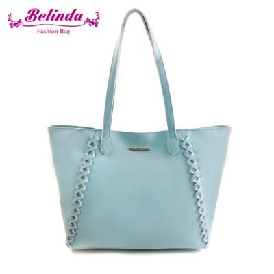 【Belinda】喬安娜素面鎖縫設計手提肩背包(粉藍)