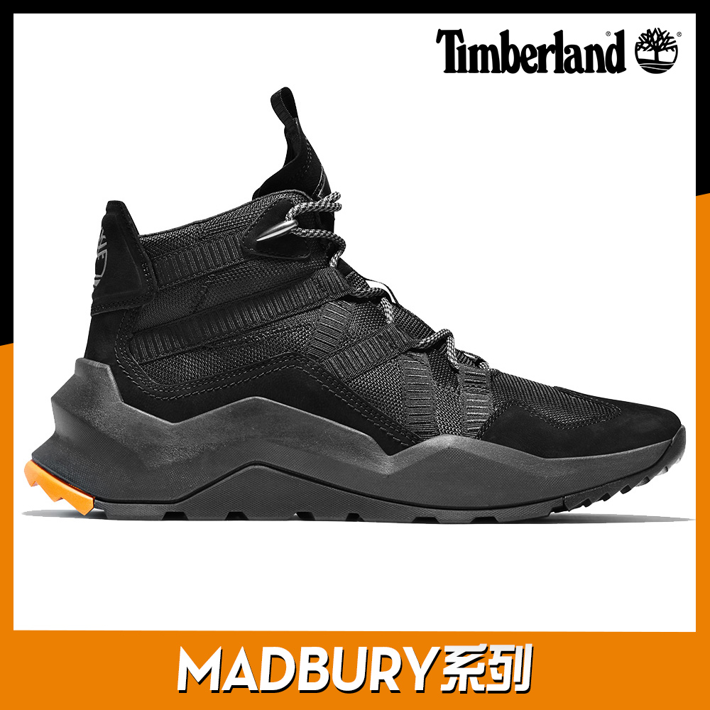 Timberland 男款MADBURY黑色絨面革織物拼接中筒運動鞋|A42PP